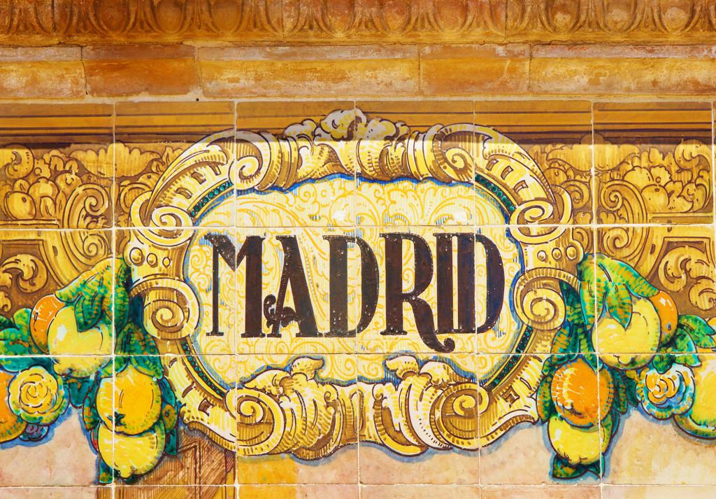 ceramic decoration on mosaic wall, Spain. Madrid theme.